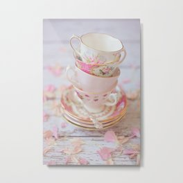 Shabby Chic Vintage Cups in Pink Metal Print