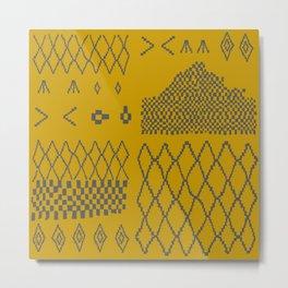 Moroccan Patchwork in Mustard Metal Print