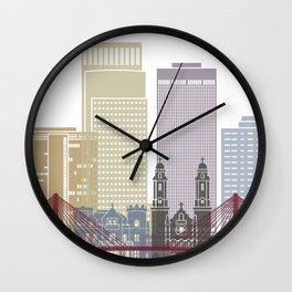 Omaha skyline poster Wall Clock