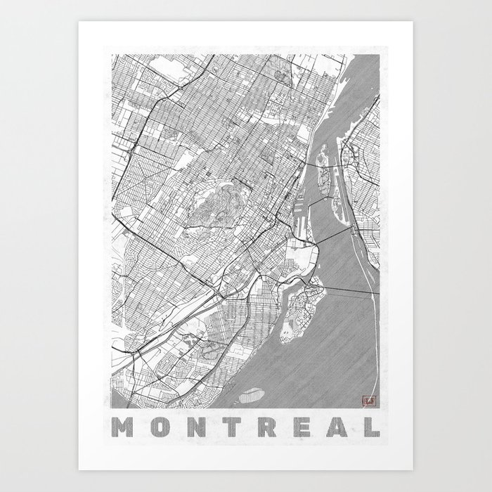 graphic about Printable Map of Montreal identified as Montreal Map Line Artwork Print through hubertroguski