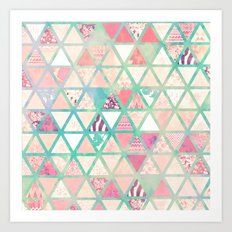 Pink Turquoise Abstract Floral Triangles Patchwork Art Print