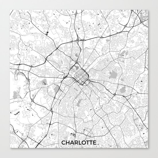 Charlotte Map Gray Canvas Print