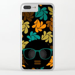 Afro Diva: Fall Colors Brown Gold Teal Clear iPhone Case
