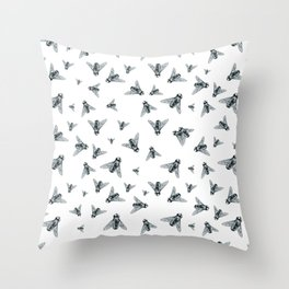 Fly Dotwork Throw Pillow