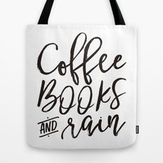 Coffee Books And Rain Art Print Tote Bag