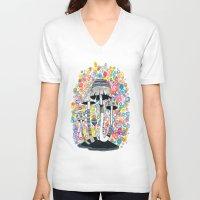 mushrooms V-neck T-shirts featuring Mushrooms by Asja Boros