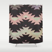 navajo Shower Curtains featuring navajo triangles by spinL