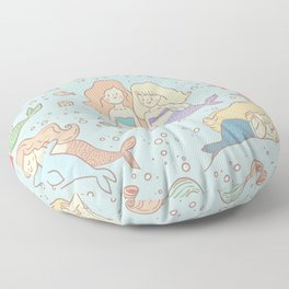 Bff Mermaids Seamless Pattern Floor Pillow
