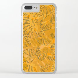 Monstera leaves - Autumn Clear iPhone Case