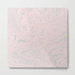 Blush pink elegant silver glitter abstract marble Metal Print