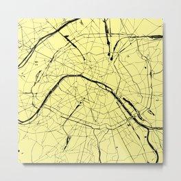 Paris France Minimal Street Map - Yellow on Black Metal Print