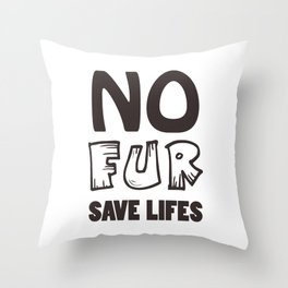 No fur sign in vector, ethical signature for any design Throw Pillow