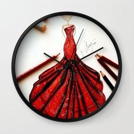 Ravishing Red Fashion Illustration Wall Clock
