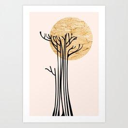 New Beginnings - Black & Gold Art Print