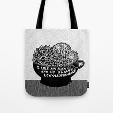 Lo-Maintenance Men & Cacti Black and White Trendy Illustration Tote Bag