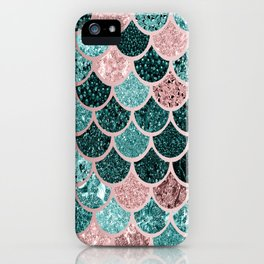 Mermaid Fish Scales, Pink, Rose Gold, Teal, Emerald Green iPhone Case