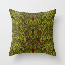 Snake skin abstract reptile leather modern green khaki Throw Pillow