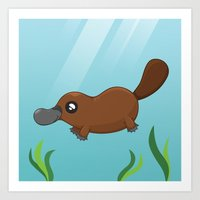 platypus Art Prints featuring Platypus by Toketo