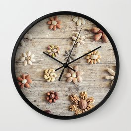 Dried fruits arranged forming flowers (4) Wall Clock