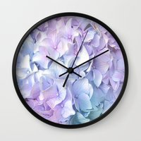 outdoor Wall Clocks featuring Soft Pastel Hydrangea by Judy Palkimas