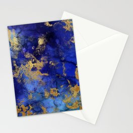 Gold And Blue Indigo Malachite Marble Stationery Cards