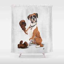 The Boxer (Wordless) Shower Curtain