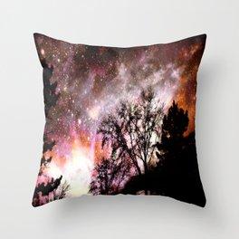 Black Trees Pink Peach Sorbet Space Throw Pillow