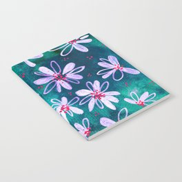 Daisy Flowers | Whimsical Watercolor Daisies on Cyan BlueTeal Notebook