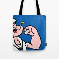 popeye Tote Bags featuring Popeye by Jason Michael