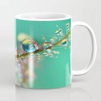 anaconda Mugs featuring Smokey Rainbow Drops by Sharon Johnstone
