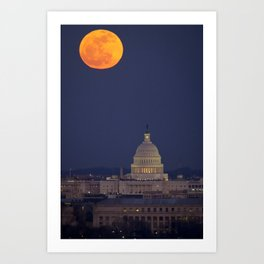 Full Moon Over The Capitol Art Print