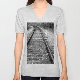 Train Tracks, Train Photography Unisex V-Neck