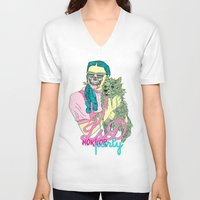 horror V-neck T-shirts featuring Lsd  horror party by DIVIDUS