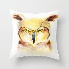 Angry Owl Throw Pillow