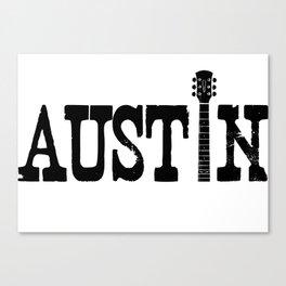 Austin Texas Graphic with Guitar Canvas Print