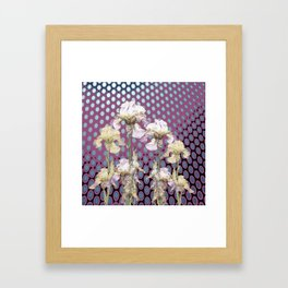 WHITE IRIS ON PUCE COLORED MODERN PATTERNS Framed Art Print