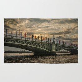 Sunset over Trinity Bridge, Saint Petersburg Rug