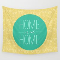 home sweet home Wall Tapestries featuring Home sweet home by Allyson Johnson