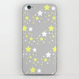 Yellow White Stars on Grey Gray iPhone Skin
