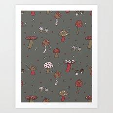 Mushrooms Gray Art Print