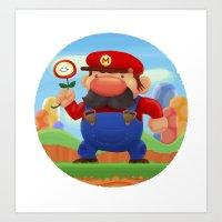 mario Art Prints featuring Mario by Gazulo Marquez