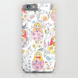 Russian doll and flowers pattern iPhone Case
