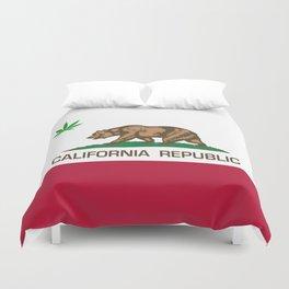 California Republic state flag with green Cannabis leaf Duvet Cover