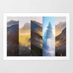 Abstract Mountain and Forest - Blue Smoky Glow Trees Art Print