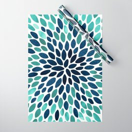 Flower Bloom, Aqua and Navy Wrapping Paper