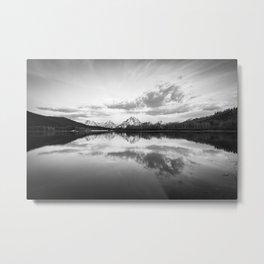 Oxbow Bend Black & White Grand Teton National Park Wyoming Mountain Reflection Landscape Metal Print