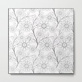 .Floral pattern on a white background. Metal Print