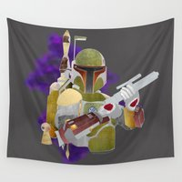 boba Wall Tapestries featuring Boba Fett by Kenneth Shinabery