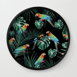 Parrots in the Tropical Jungle Night #2 #tropical #decor #art #society6 Wall Clock