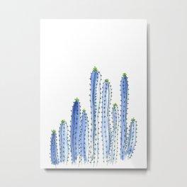 Blue Cactus Watercolor No.2 Metal Print